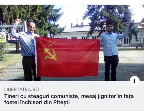 Tineri cu steaguri comuniste, mesaj jignitor in fata fostei inchisori din Pitesti